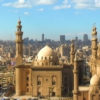 Cairo and the Sultan Hassan Mosque in foreground